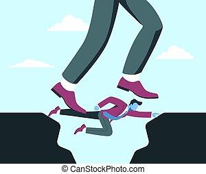 ayuda, abismo, a través de, crisis, superación, equipo, repentino, comrades., concept., financiero, salto, ayuda
