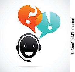 ayuda al cliente, auriculares