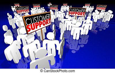 ayuda al cliente, señales, gente, servicio, personal, animación 3d
