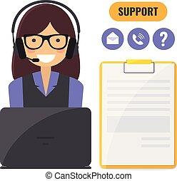 ayuda al cliente, servicio, concept.