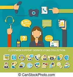 ayuda al cliente, servicio, iconos, colección