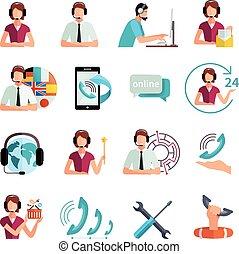 ayuda al cliente, servicio, plano, iconos, conjunto