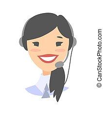 ayuda al cliente, teléfono, hembra, operador, sonreír feliz
