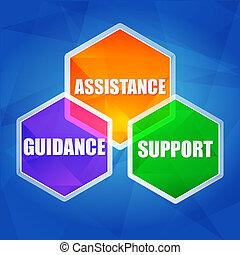 ayuda, apoyo, dirección, en, hexágonos, plano, diseño