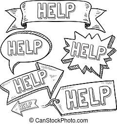 ayuda, banderas, y, etiquetas, bosquejo