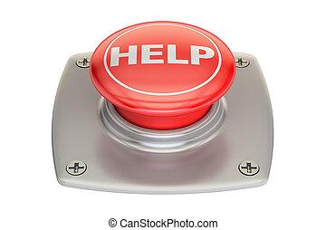 ayuda, botón rojo, 3d, interpretación