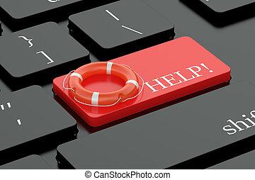 ayuda, concepto, en, teclado, botón