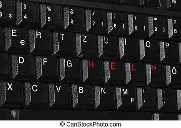 ayuda, diagonalmente, en, teclado