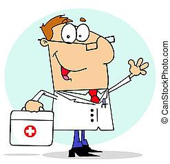 ayuda, doctor, bolsa que lleva, el suyo, primero