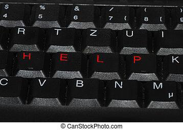 ayuda, en, rojo, en, teclado