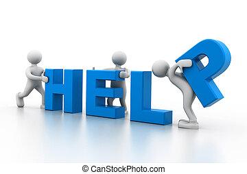 ayuda, gente, trabajando