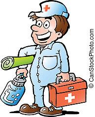 ayuda, humanitario, trabajador, feliz