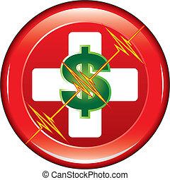 ayuda, médico, coste, botón, primero