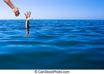 ayuda, mano, para, ahogo, hombre, ahorro de vida, en, mar, o, ocean.