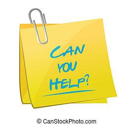 ayuda, memorándum, ilustración, diseño, lata, poste, usted