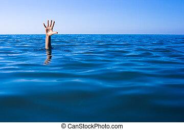 ayuda, needed., ahogo, la mano de hombre, en, mar, o, ocean.