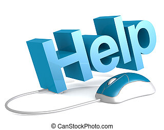 ayuda, palabra, con, azul, ratón, blanco