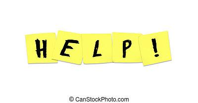 ayuda, -, palabra, en, amarillo, notas pegajosas