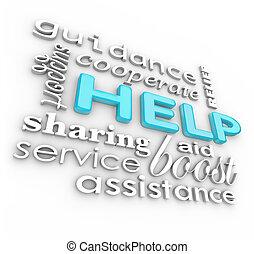 ayuda, palabras, 3d, plano de fondo, de apoyo, términos, de,...