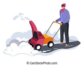 ayuda, persona, máquina, nieve, exterior, limpieza