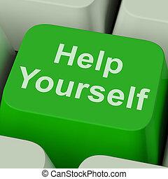 ayuda, sí mismo, usted mismo, llave, en línea, mejora, exposiciones