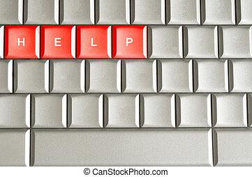 ayuda, spelled, en, un, teclado