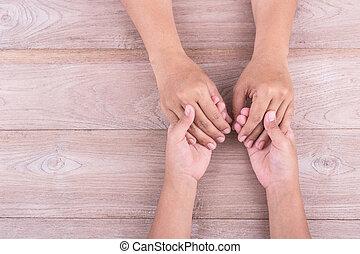 ayuda, y, apoyo, concepto, :, mujer, asideros, ella, niños...