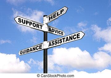 ayuda, y, apoyo, poste indicador