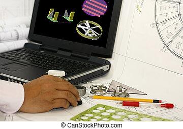 ayudado, computadora, diseño