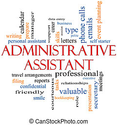 ayudante administrativo, palabra, nube, concepto