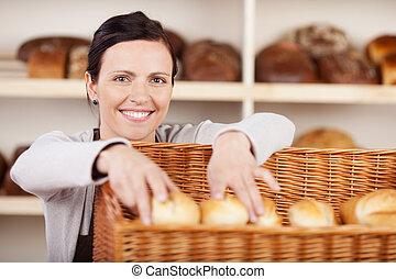 ayudante, panadería, rollos, el seleccionar