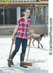 ayudante, tiempo, perrera, limpieza