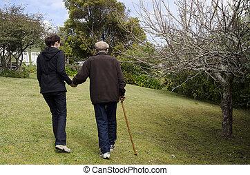 ayudar, y, porción, personas edad avanzada