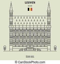 ayuntamiento, en, leuven, belgium., señal, icono