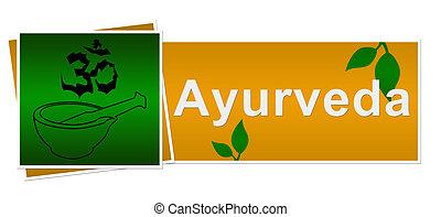 ayurveda, 緑, ブラウン, 2, 正方形