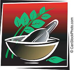 Ayurvedic herb and bowl used for preparing Ayurvedic medicine