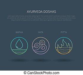 Ayurveda doshas vector thin icons isolated on dark background