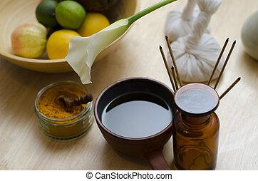 ayurveda, exótico, aceite, especia, encimera, ayurvedic,...