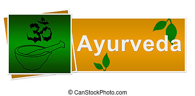Ayurveda Green Brown Two Squares - A banner image with...