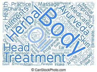 Ayurveda Principles Practice text background word cloud concept