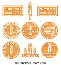 ayurveda - Set of grunge stamps with allergen icons. Gluten...