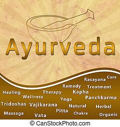 Image of Ayurveda keywords mortar with brown grunge and burst