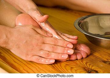 ayurvedic, óleo, caminhe massagem