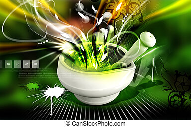 Ayurvedic medicine making - Digital illustration of...
