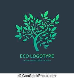 Ayurvedic spa design symbol, green vector tree - Green...