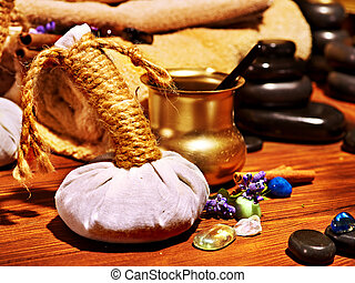Ayurvedic spa massage still life - Luxury ayurvedic spa...