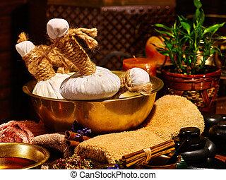Ayurvedic spa massage still life - Luxury ayurvedic spa ...
