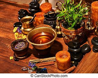 Ayurvedic spa massage still life - Luxury ayurvedic spa...