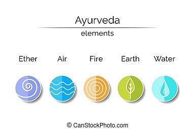 ayurvedic, symboler, in, linjär, style.