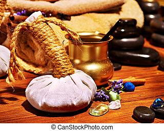 ayurvedic, terme, massaggio, natura morta